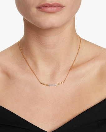 Delicate Geo Diamond Bar Necklace
