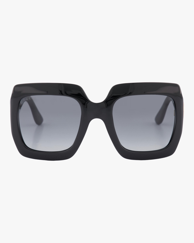 Gucci Embellished-Temple Oversized Rectangle Sunglasses 0