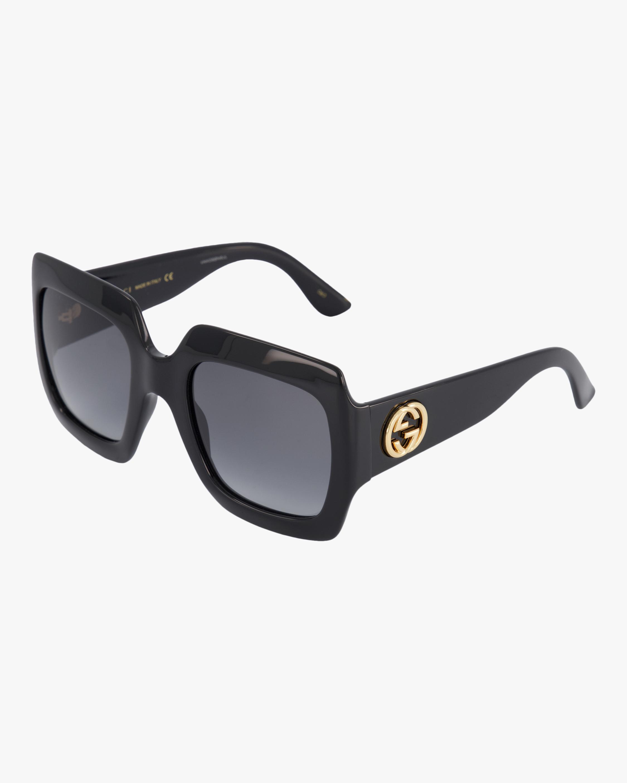 Embellished-Temple Oversized Rectangle Sunglasses