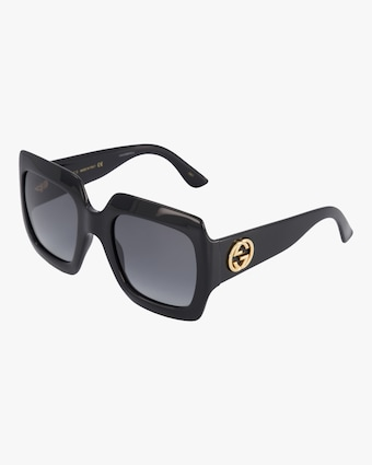 Embellished-Temple Oversized Rectangle Sunglasses