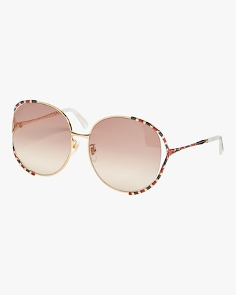 Cutout-Temple Round Sunglasses