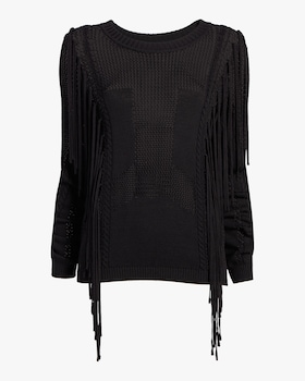 Open Knit Fringe Sweater