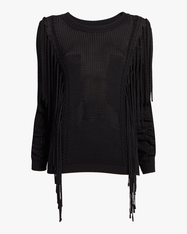 Open Knit Fringe Sweater