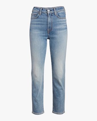 High-Waisted Cropped Straight-Leg Jeans
