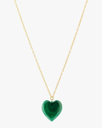 Haute Victoire Malachite Heart Pendant Necklace 1