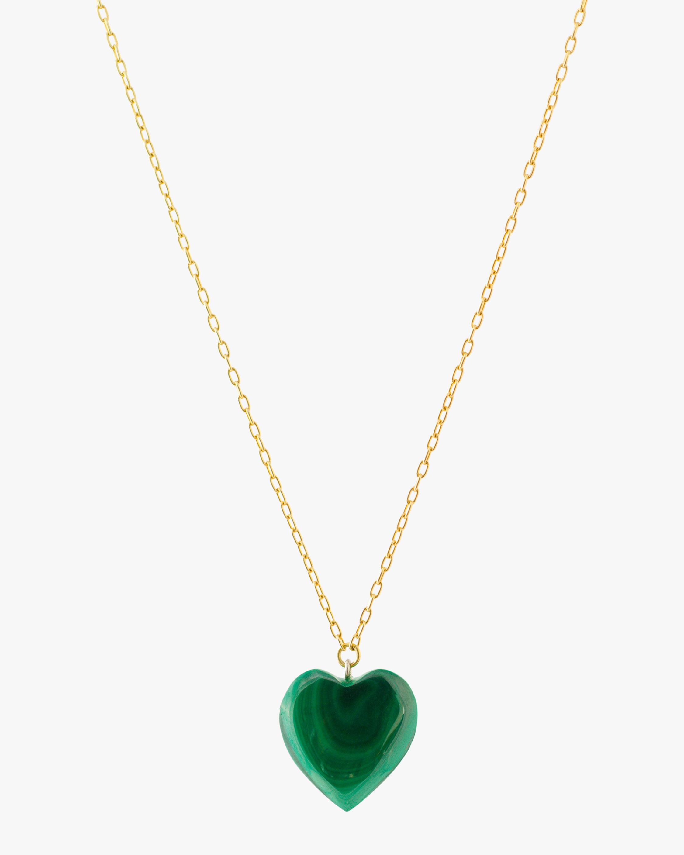 Haute Victoire Malachite Heart Pendant Necklace 1