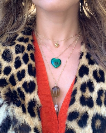 Haute Victoire Malachite Heart Pendant Necklace 2