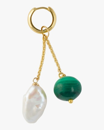 Haute Victoire Single Charm Malachite & Pearl Earring 1