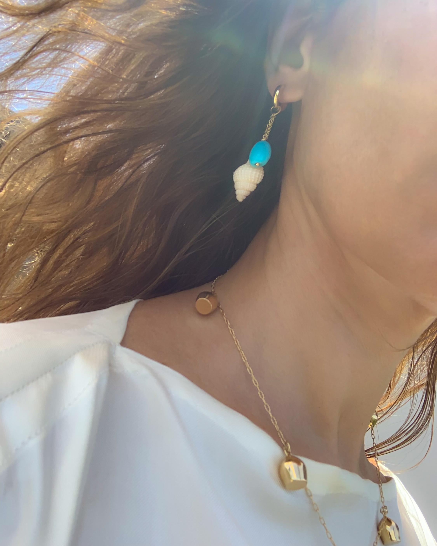 Haute Victoire Single Charm Turquoise & Shell Earring 1