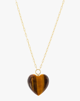 Haute Victoire Tiger's Eye Heart Pendant Necklace 1