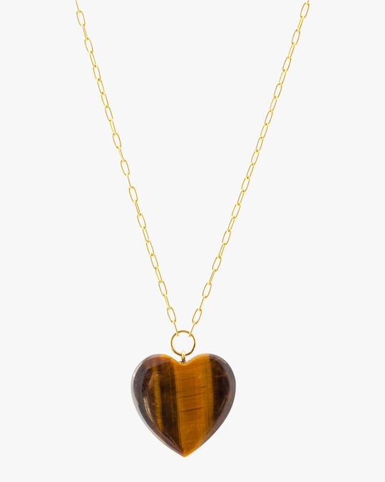 Haute Victoire Tiger's Eye Heart Pendant Necklace 0