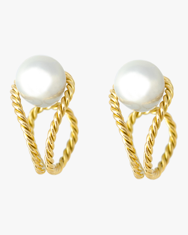 Haute Victoire Baroque Pearl Hoop Earrings 0