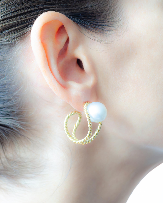 Haute Victoire Baroque Pearl Hoop Earrings 1