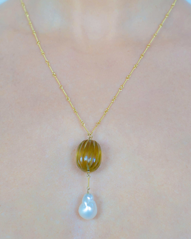 Haute Victoire Citrine & Pearl Pendant Necklace 1