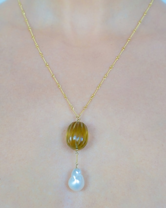 Citrine & Pearl Pendant Necklace