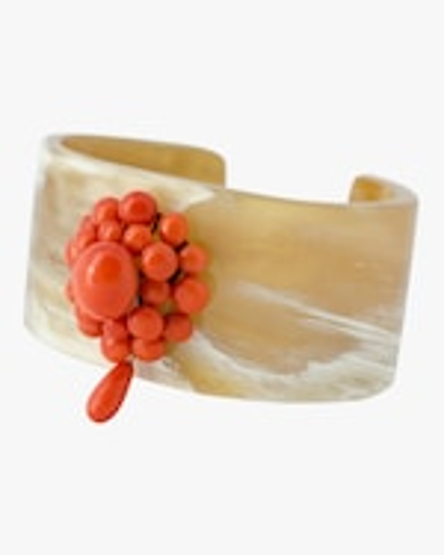 Haute Victoire Coral & Horn Cuff Bracelet 0