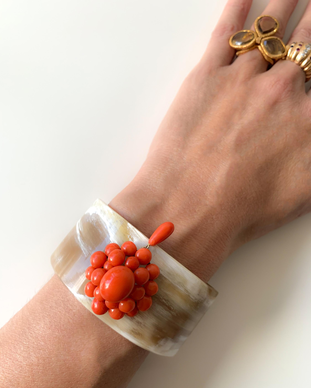 Haute Victoire Coral & Horn Cuff Bracelet 1
