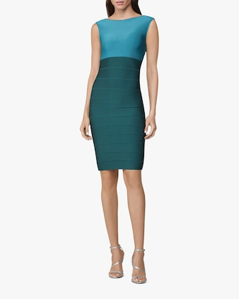Color Block Boat Neck Icon Dress