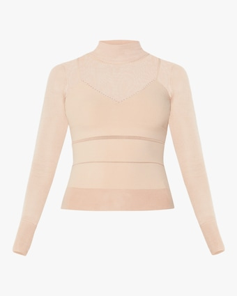 Sporty Sheer Mock Neck Top
