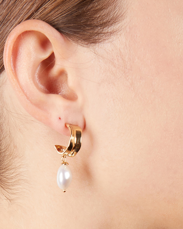 Carolee Freshwater Pearl Hoop Drop Earrings 1