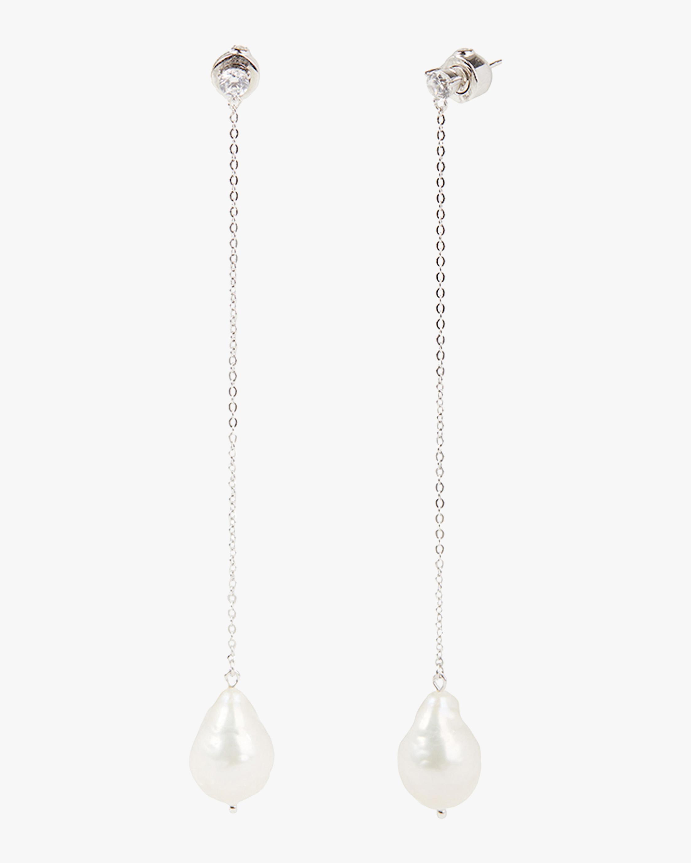 Linear Freshwater Pearl Drop Earrings