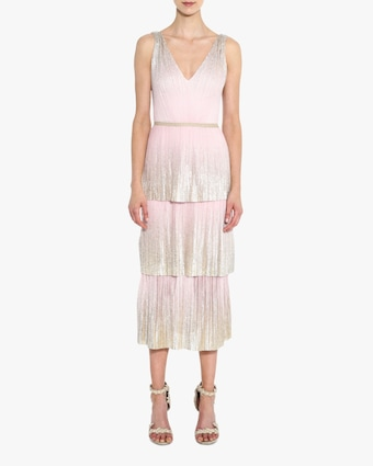 V Neck Foil-Tiered Cocktail Dress