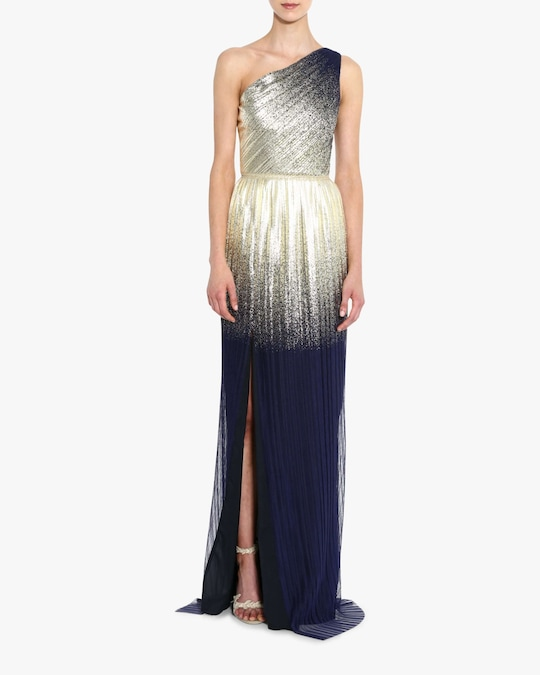 Marchesa Notte One-Shoulder Pleated Foil Gown 1