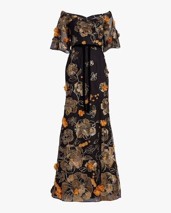Flutter-Sleeve Fit & Flare Gown