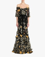 Marchesa Notte Flutter-Sleeve Fit & Flare Gown 1