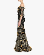 Marchesa Notte Flutter-Sleeve Fit & Flare Gown 2