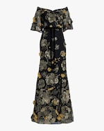 Marchesa Notte Flutter-Sleeve Fit & Flare Gown 0