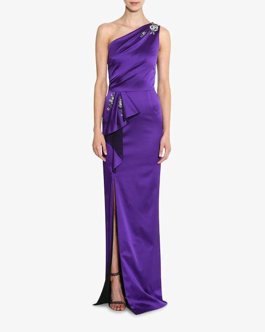 Marchesa Notte One-Shoulder Satin Gown 1