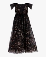 Marchesa Notte Flocked Glitter Tulle Tea-Length Dress 0