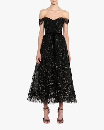Flocked Glitter Tulle Tea-Length Dress