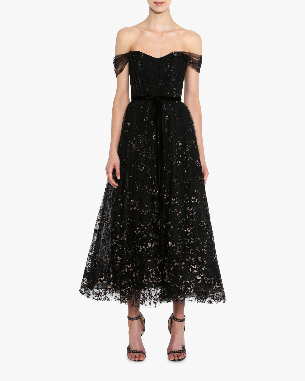 Marchesa Notte Flocked Glitter Tulle Tea-Length Dress 1
