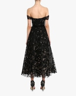 Marchesa Notte Flocked Glitter Tulle Tea-Length Dress 3