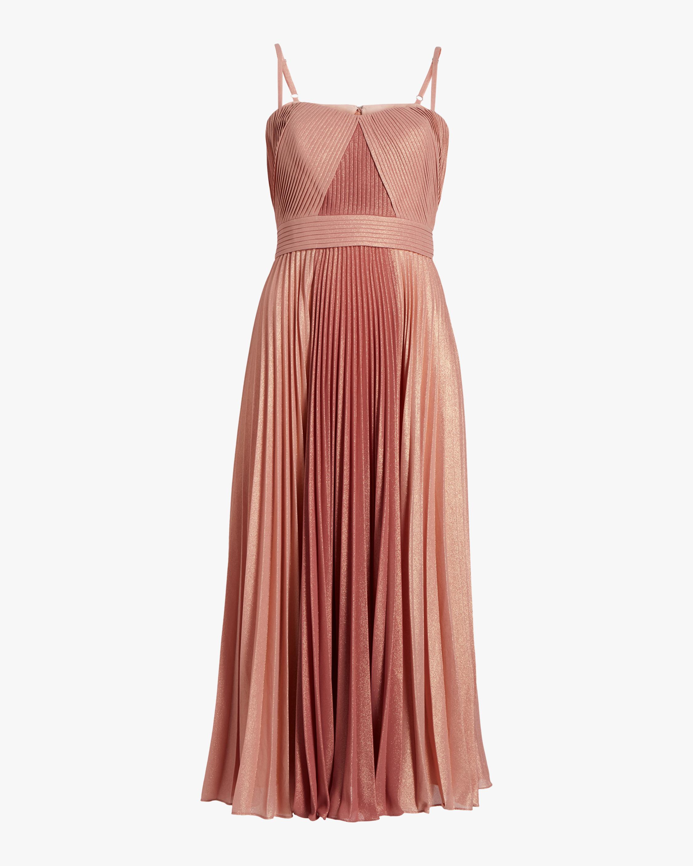 Pleated Metallic Tea-Length Dress