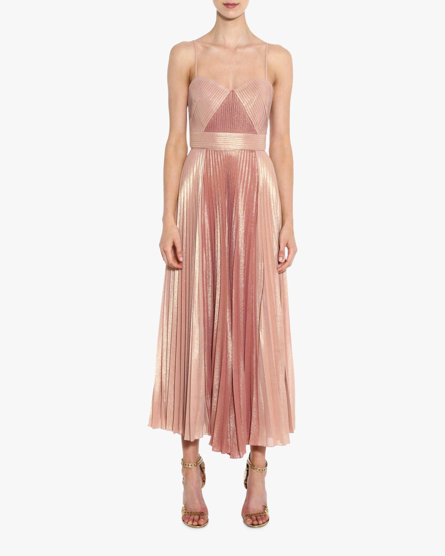 Marchesa Notte Pleated Metallic Tea-Length Dress 1