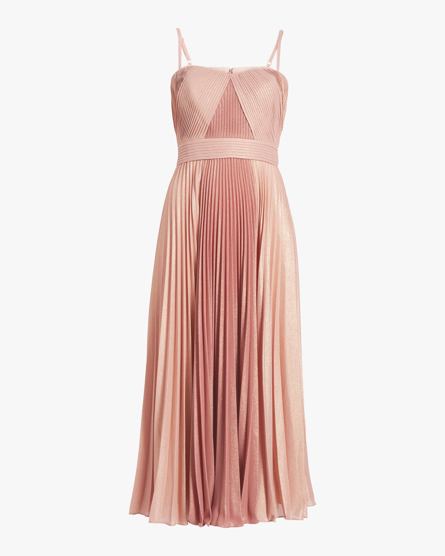 Marchesa Notte Pleated Metallic Tea-Length Dress 0