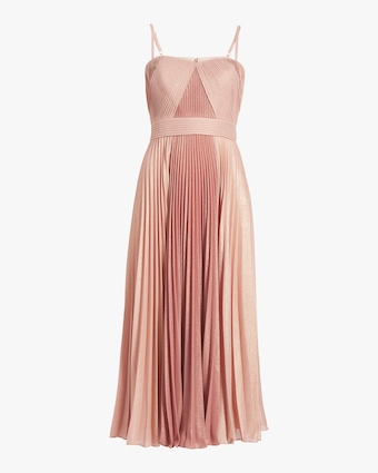 Pleated Metallic Tea-Length Dress
