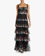 Marchesa Notte Five-Tier Embroidered Tulle Gown 2