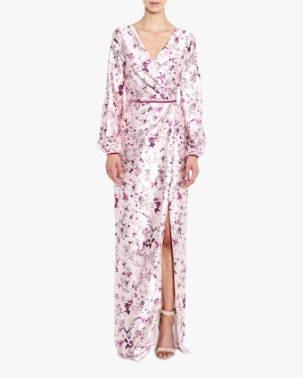 Marchesa Notte Bishop-Sleeve Charm Gown 2