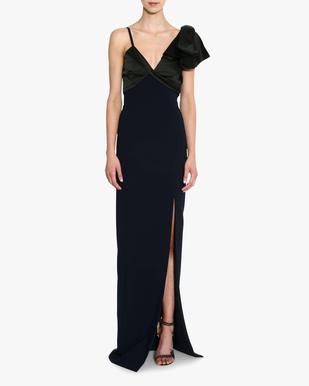 Marchesa Notte Asymmetrical-Sleeve Crêpe Gown 1