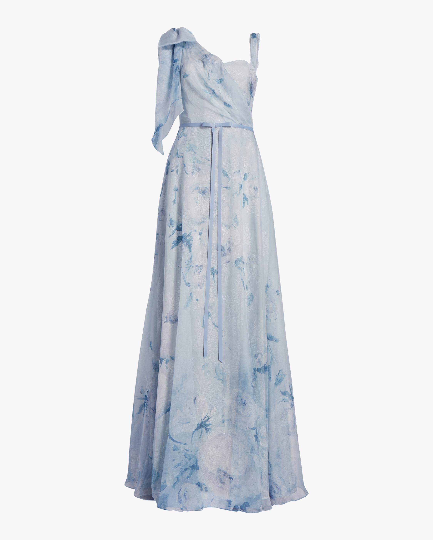 Asymmetric-Drape Chiffon Lace Gown