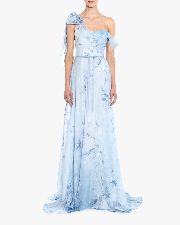 Marchesa Notte Asymmetric-Drape Chiffon Lace Gown 1
