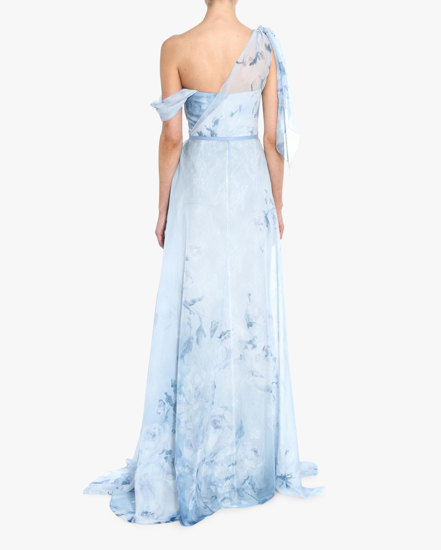 Marchesa Notte Asymmetric-Drape Chiffon Lace Gown 3