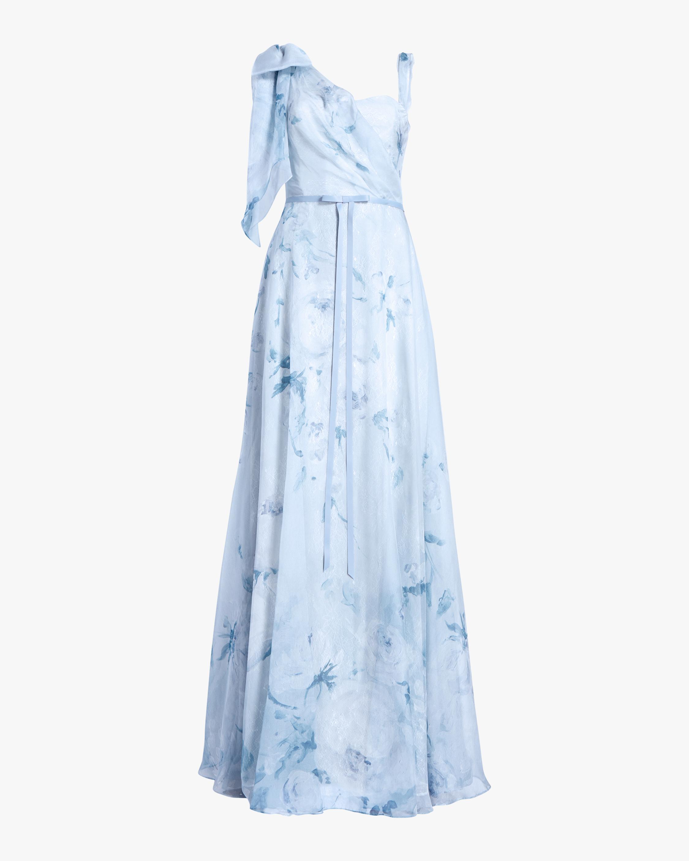 Marchesa Notte Asymmetric-Drape Chiffon Lace Gown 0