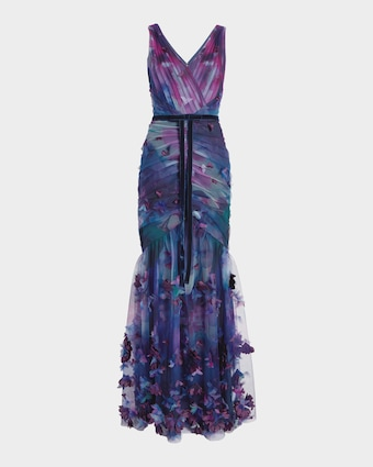 3D-Floral Fit & Flare Gown