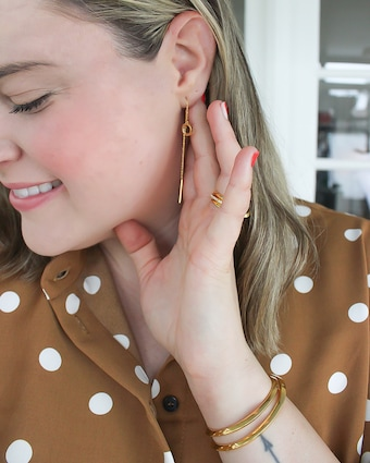 Pavé Circle Threader Earrings