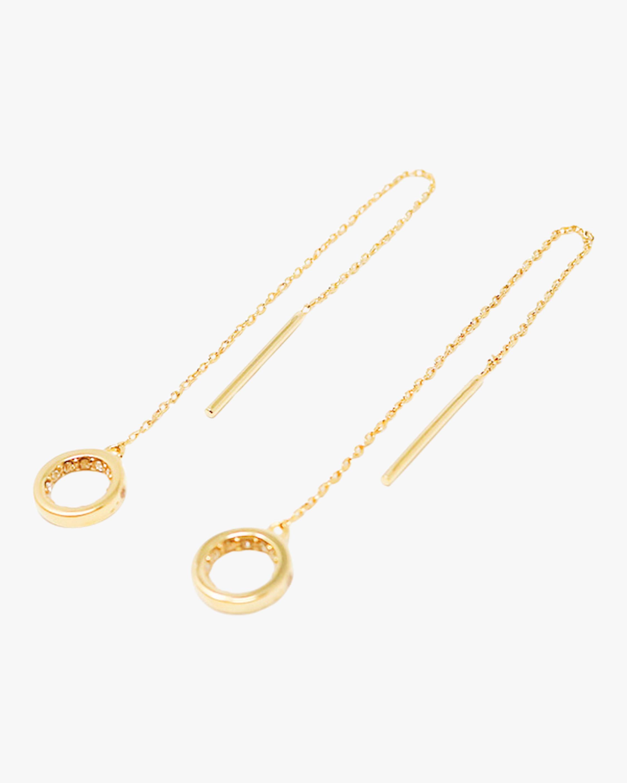 Pavé Circle Threader Earrings